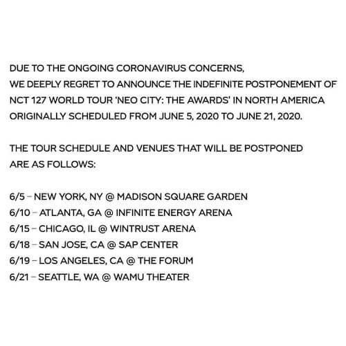 北米ツアー 延期